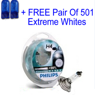 Philips X-Treme Vision +100% H4 12v 60/55w Car Bulbs with same day despatch + Free 501 Extreme White Sidelights