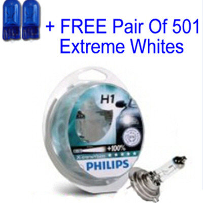 Philips X-Treme Vision +100% H1 12v 55w Car Bulbs with same day despatch + Free 501 Extreme White Sidelights