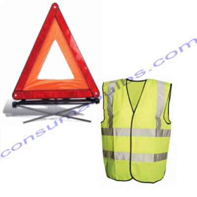 Reflective Hi-Vis Waistcoat and Warning Triangle