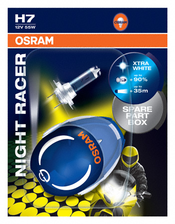 Osram H7 Night Racer Motorbike Bulbs +90% 12v 55w