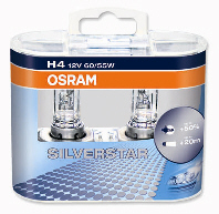 Osram Silverstar H4 Upgrade Headlight Bulb 12v 60w 55w