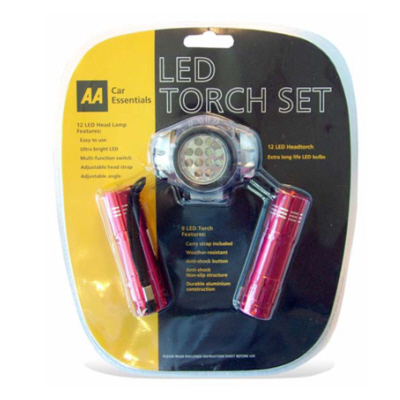 AA LED 3 Piece Torch Set