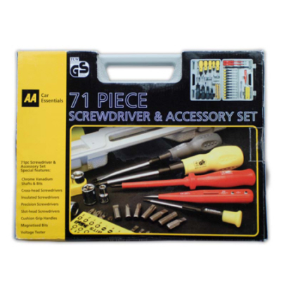AA 70 Piece Screwdriver and Accessory Tool Set